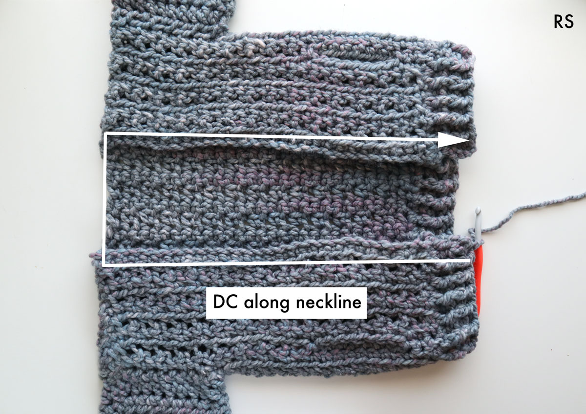 free crochet pattern chunky cardigan neckline ribbing