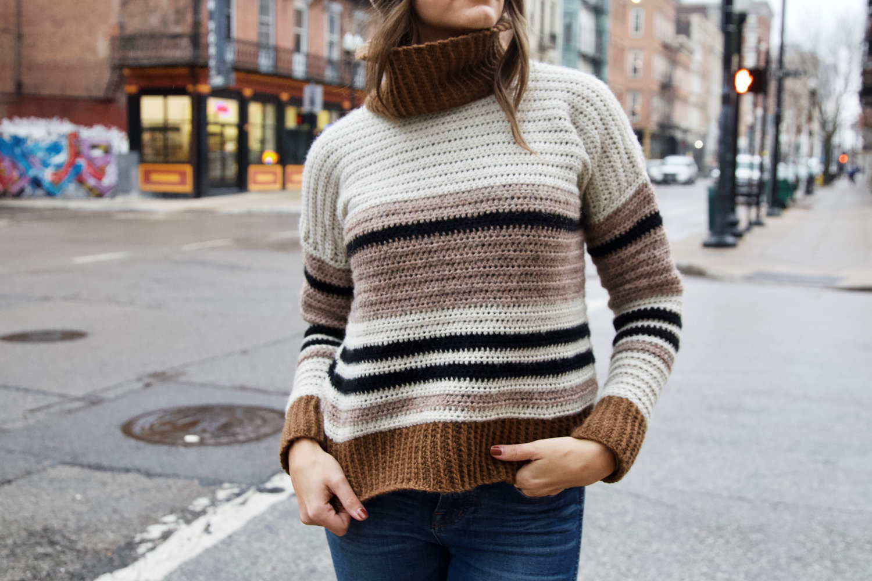 free pattern turtleneck crochet jumper with stripes