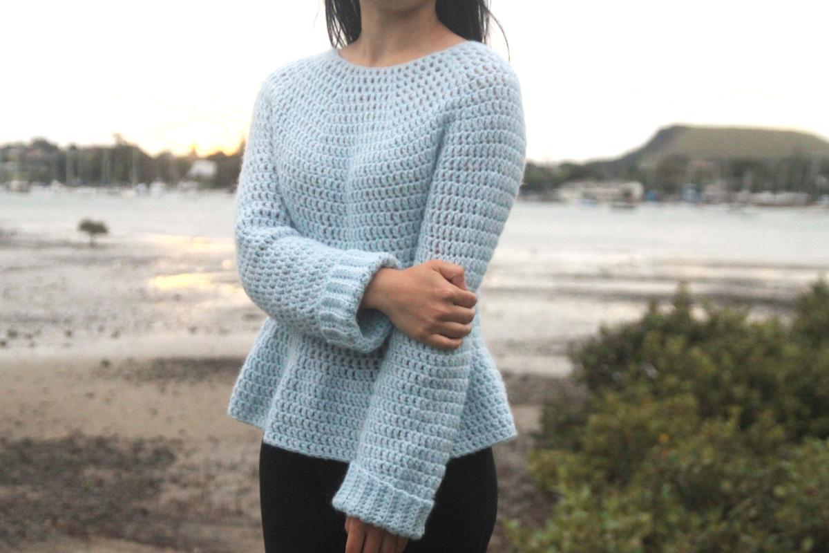 easy crochet jumper pattern light blue sweater