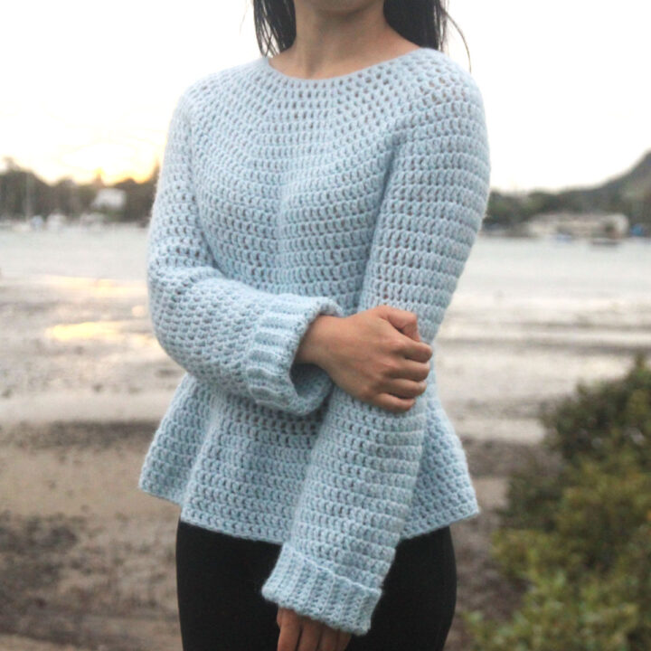 light blue peplum sweater crochet pattern