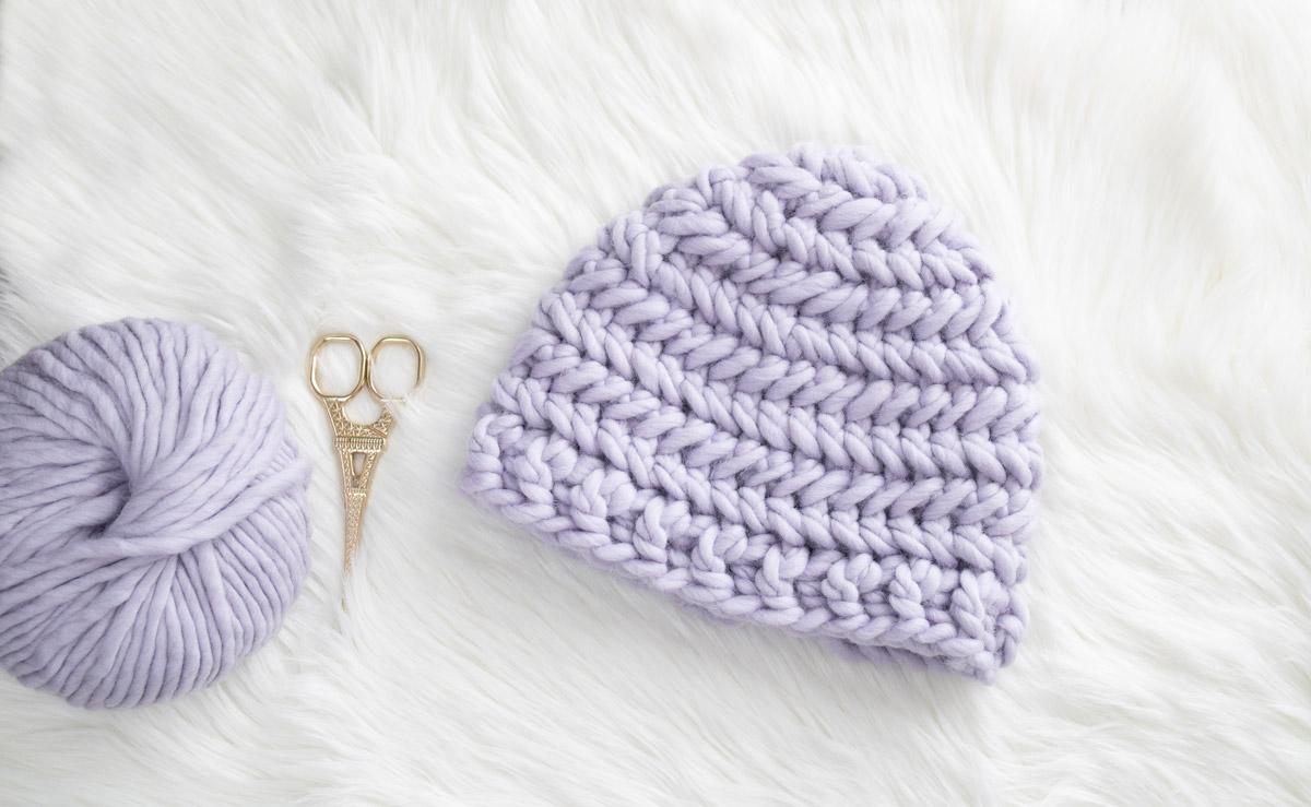 chevron stitch modern crochet beanie eiffel tower scissors lilac wool yarn