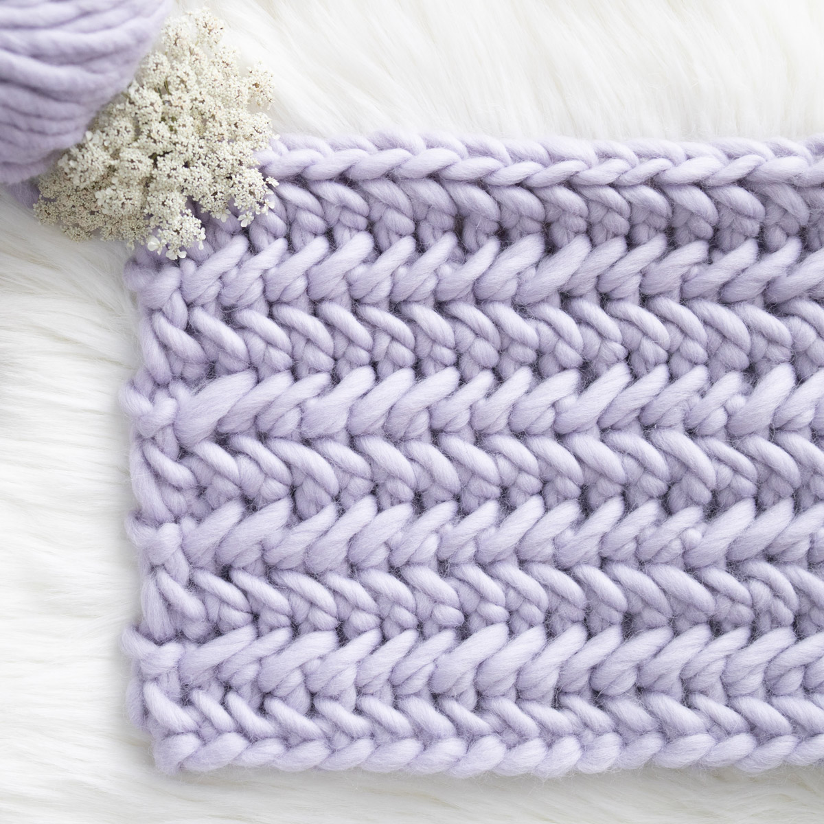 herringbone single crochet stitch tutorial super bulky yarn lilac
