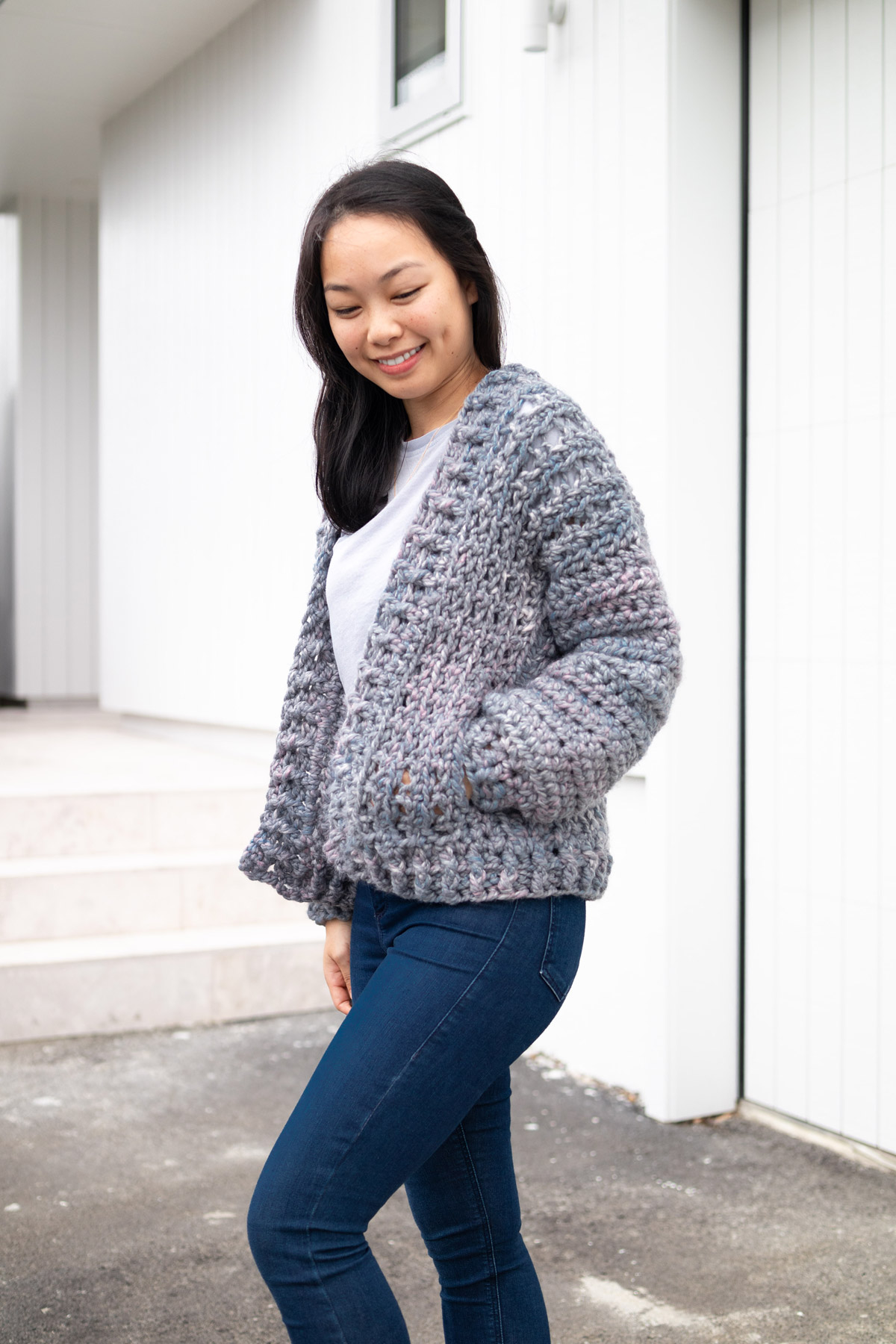 free crochet pattern cosy cardigan sweater hidden pockets