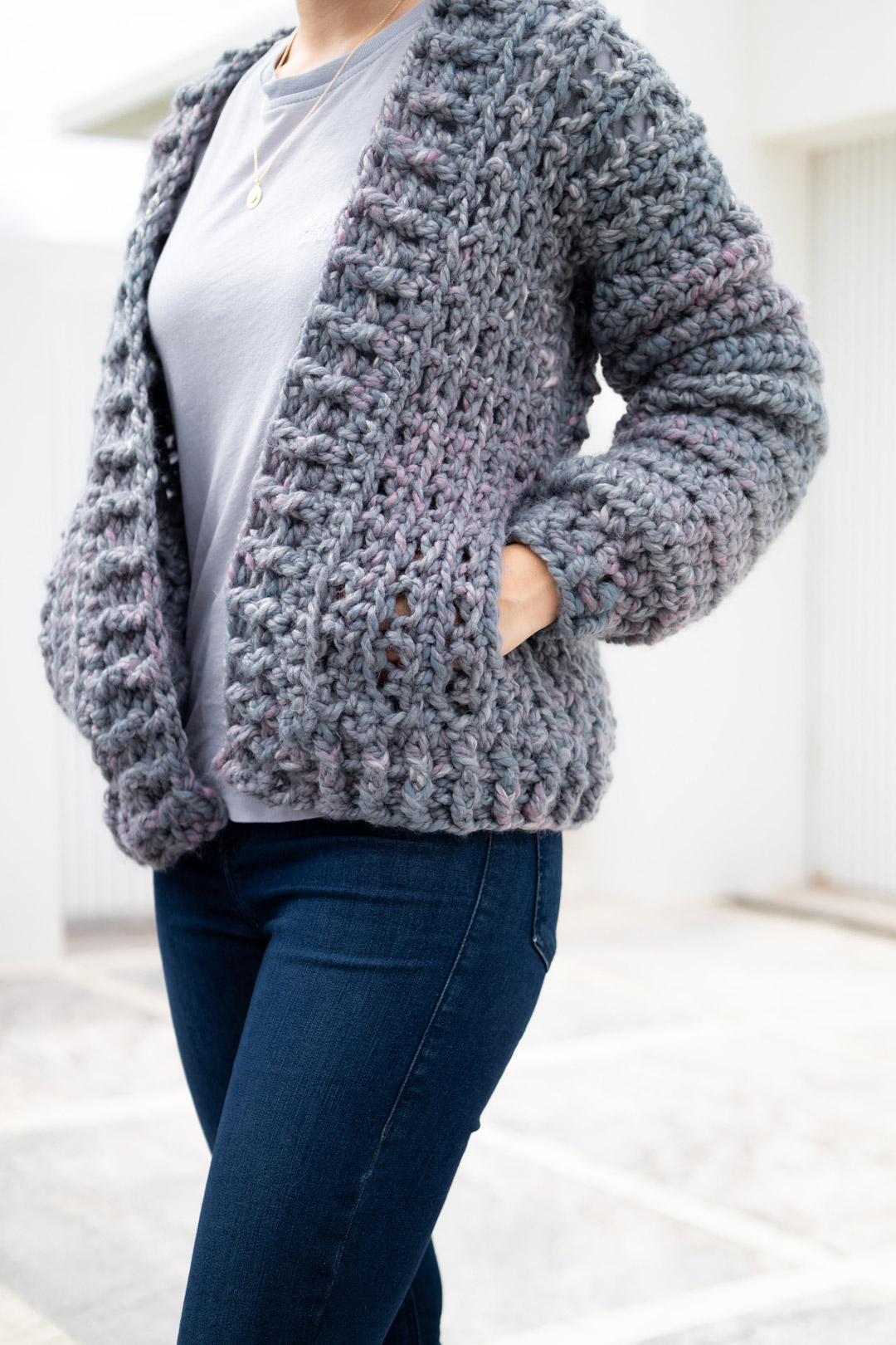 modern crochet bomber jacket hidden side pockets free tutorial