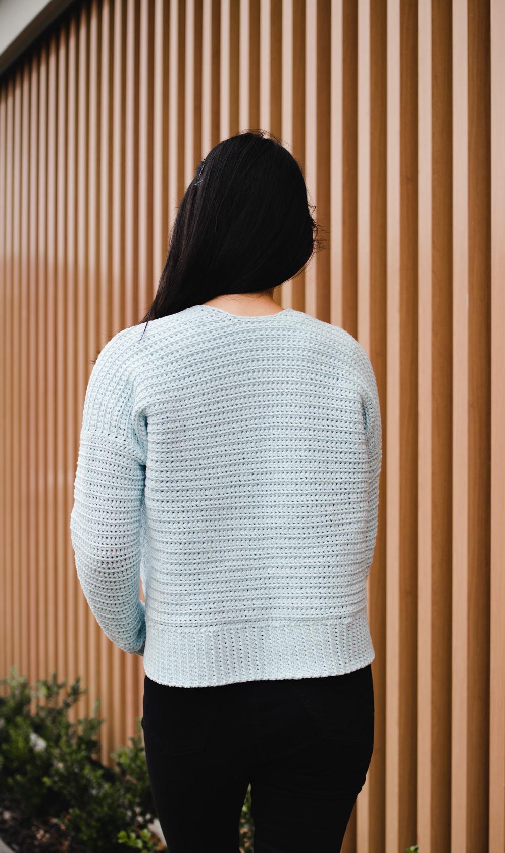 back view cuddly crochet cardigan