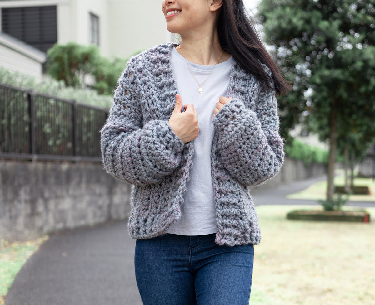 cosy crochet cardigan thick and chunky easy free pattern