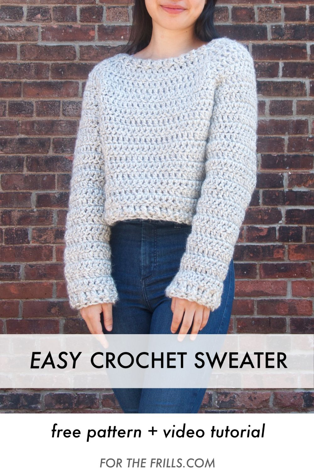 chunky cropped sweater jumper free crochet pattern