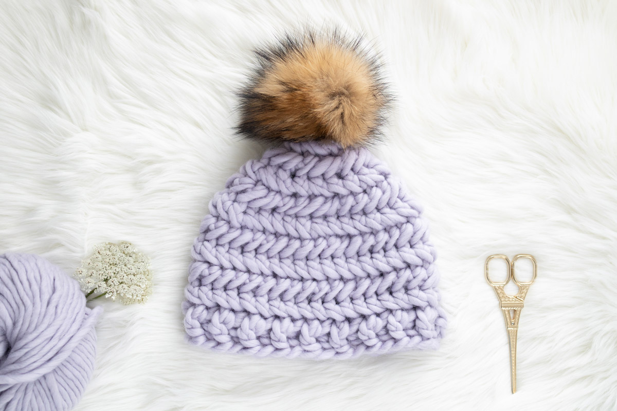 herringbone single crochet stitch top down beanie hat free pattern