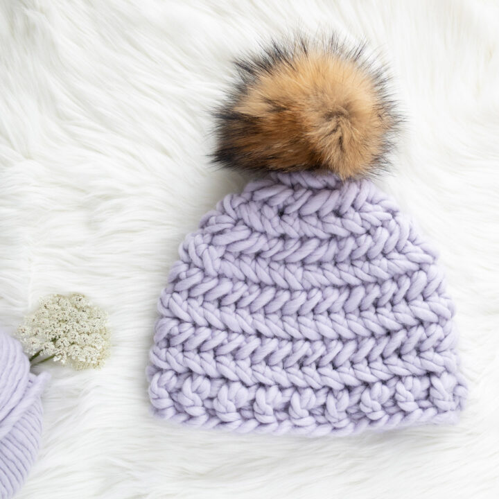 quick thick easy crochet beanie chevron stitch free pattern