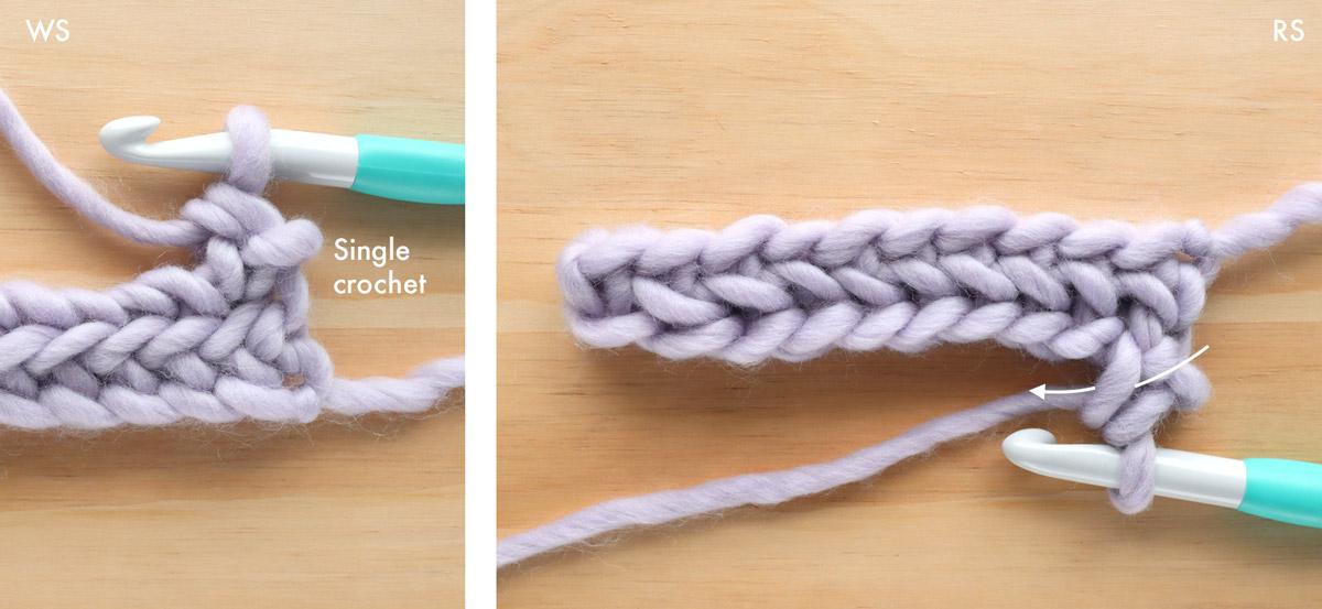 row 2 of herringbone single crochet stitch