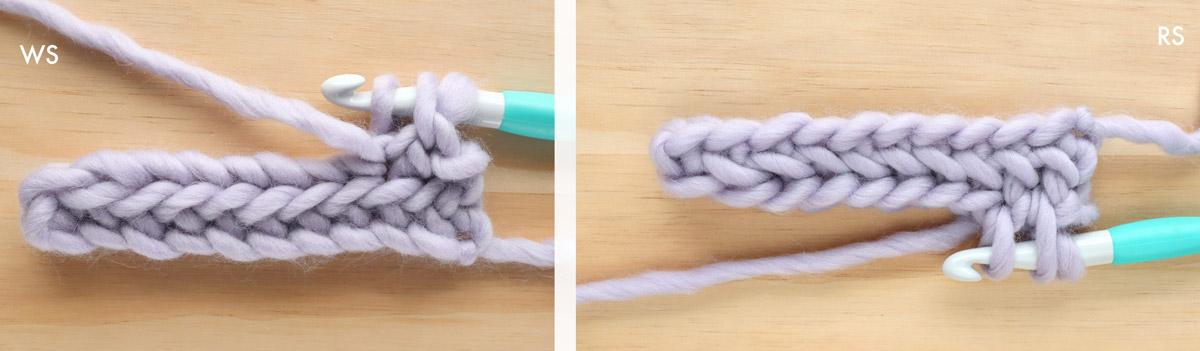 herringbone single crochet stitch three loops on hook