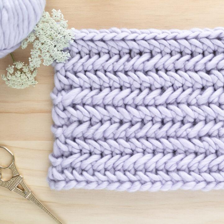 chevron crochet stitch knit look in super chunky lilac yarn
