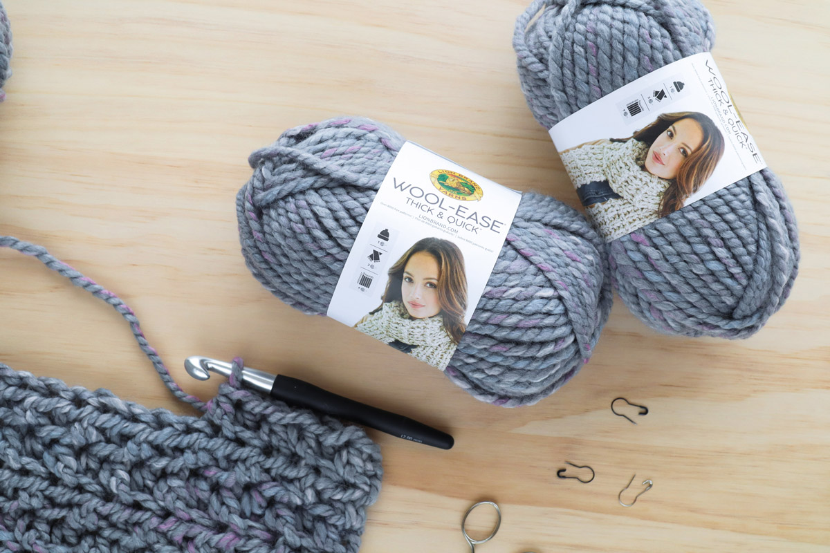 lion brand yarn wool ease thick and quick storm front chunky crochet flat lay