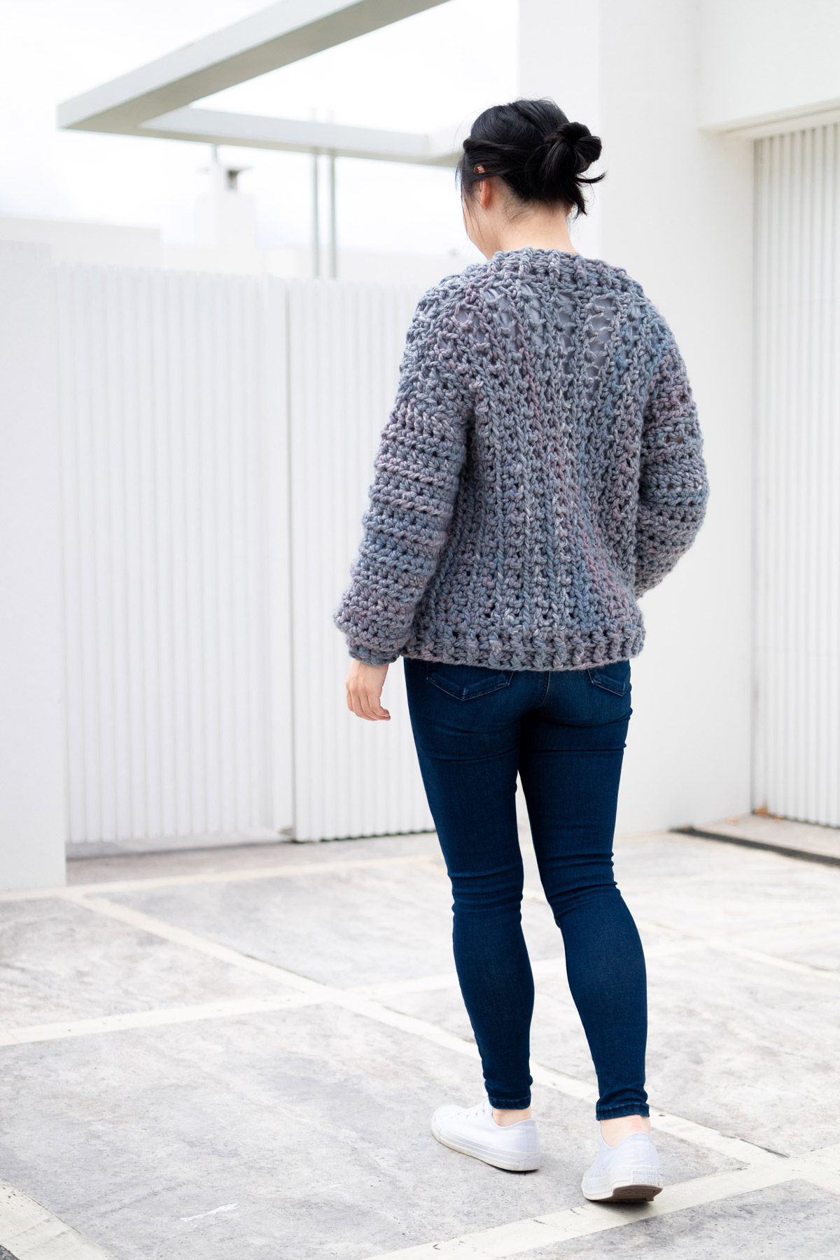 chunky crochet cardigan back view