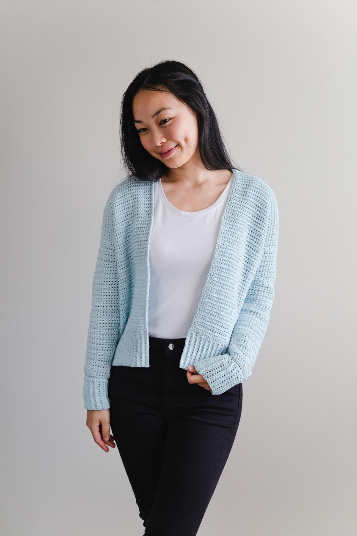 pale aqua easy crochet sweater free pattern
