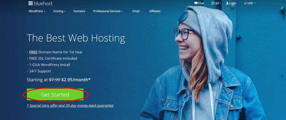 bluehost blog web hosting homepage