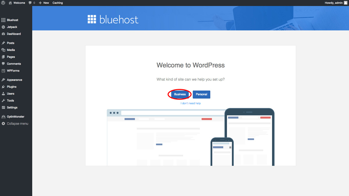 bluehost blog set up business