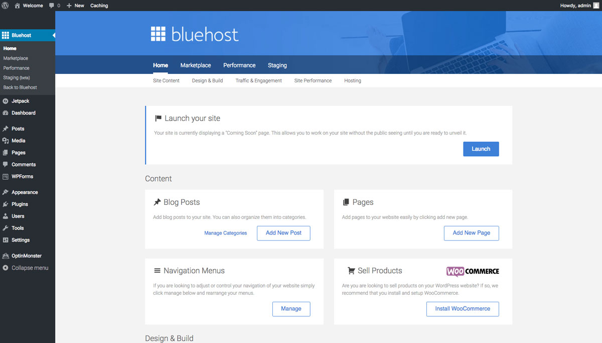 bluehost wordpress homepage blog tutorial