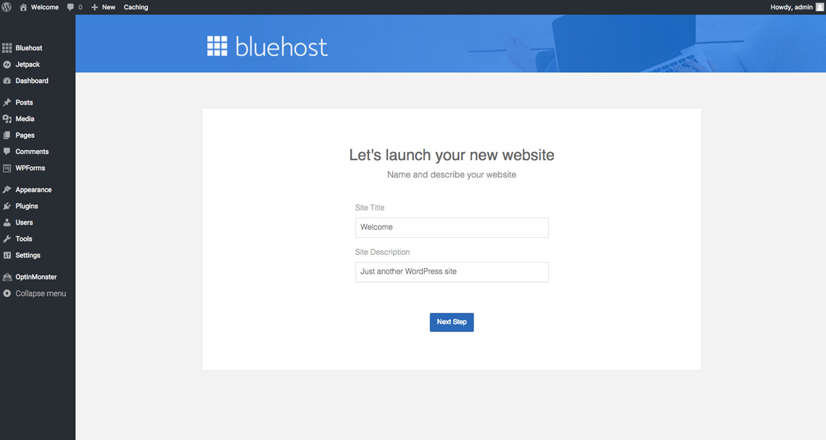 bluehost launch website page tutorial