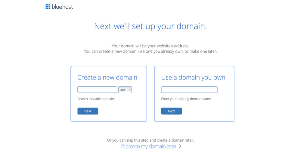 bluehost domain set up