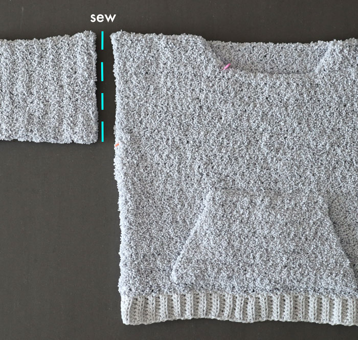 sew fuzzy crochet sleeves to sweater