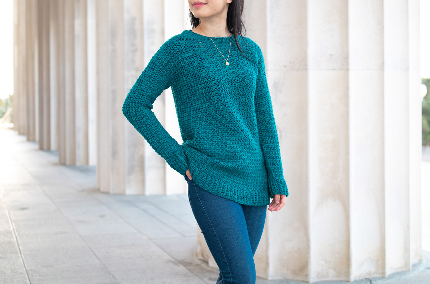 simple cosy crochet pullover free pattern forest green sweater