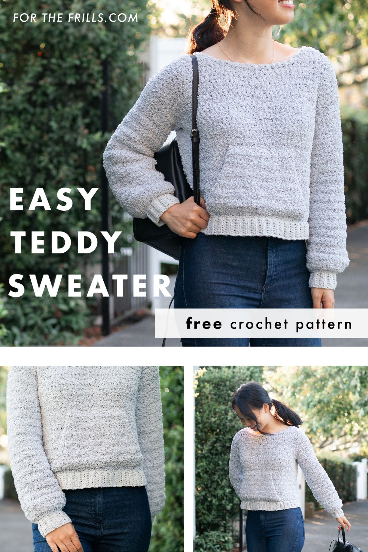 easy sherpa fleece sweater light grey fuzzy jumper front pocket with blue jeans free crochet pattern