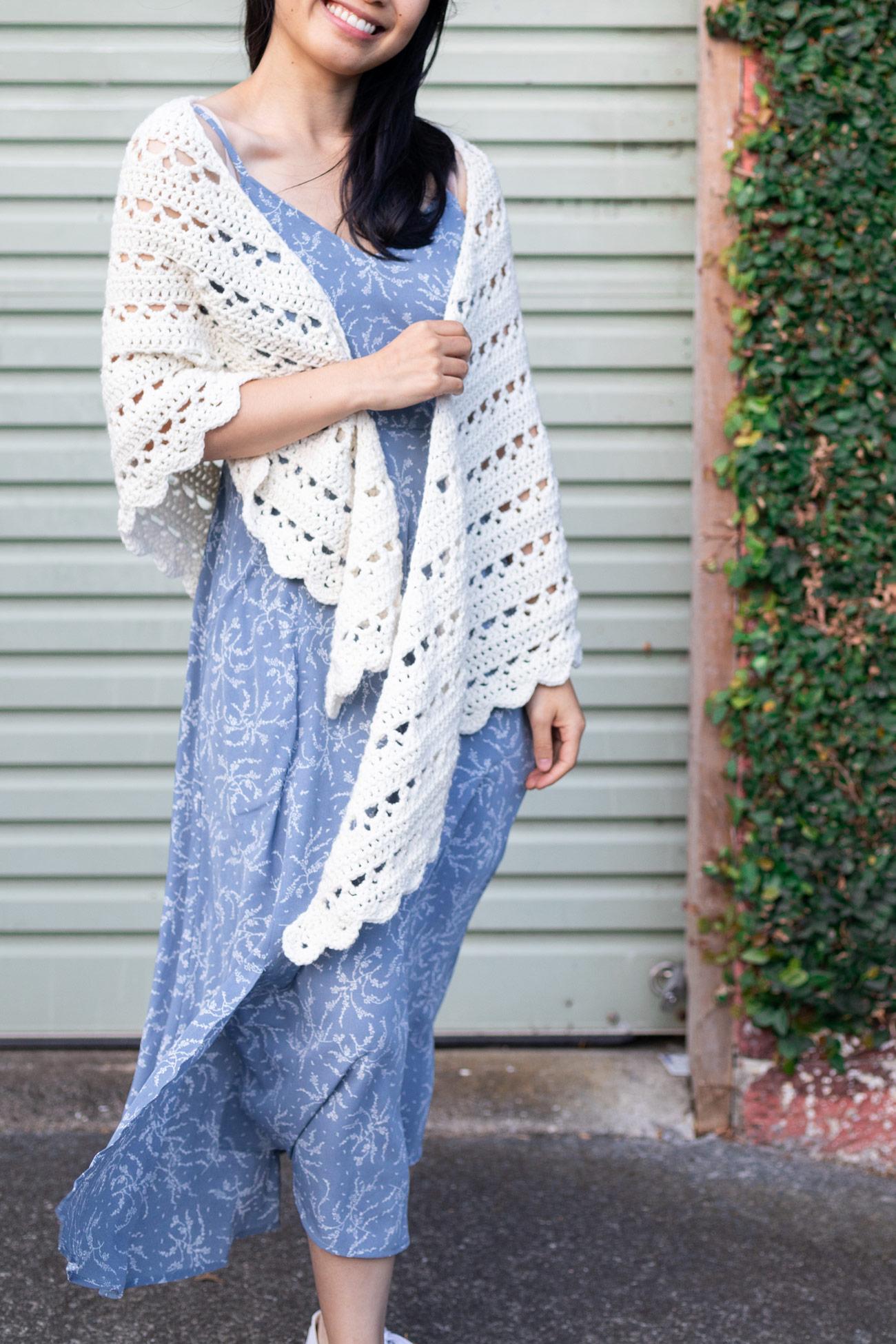 free crochet shawl lacy scallop edge with light blue maxi dress