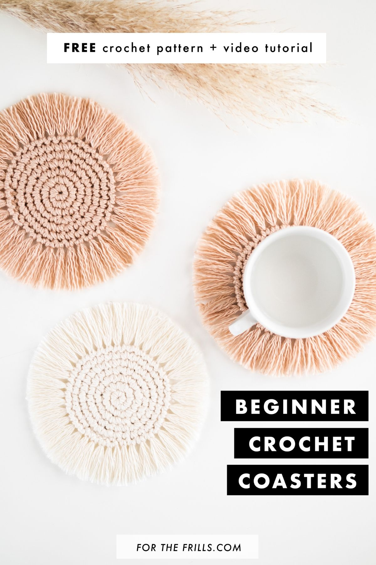 beginner crochet boho coasters free pattern video tutorial easy summer DIY fringe