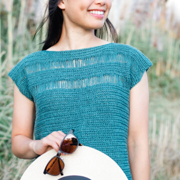 teal drop loop stitch crochet tee for summer free pattern