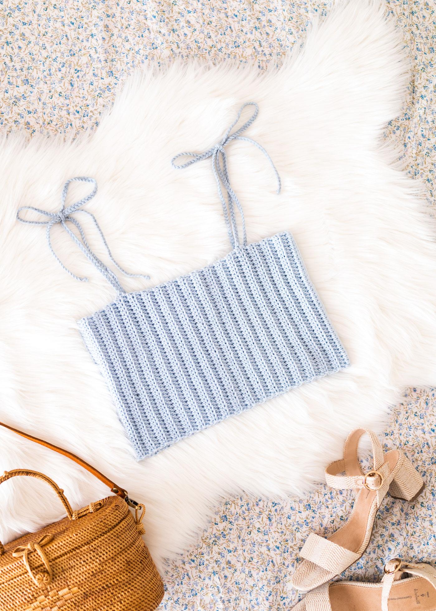 cute crochet crop top bows tie straps free pattern
