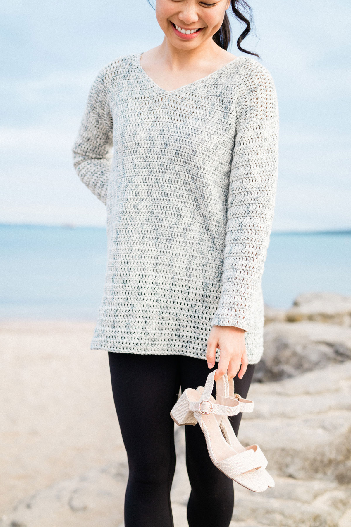 v-neck crochet sweater for summer at the beach with sandals