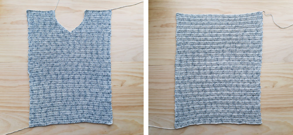 front panel and back panel of v neck sweater free crochet pattern