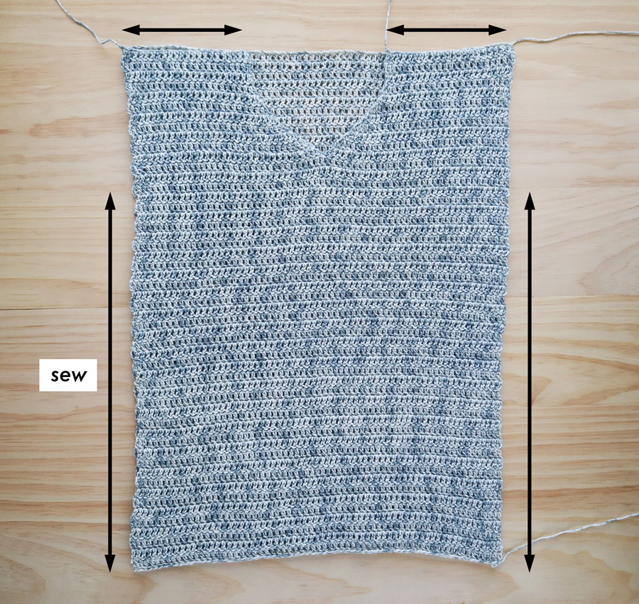 sewing front and back pieces of crochet sweater together