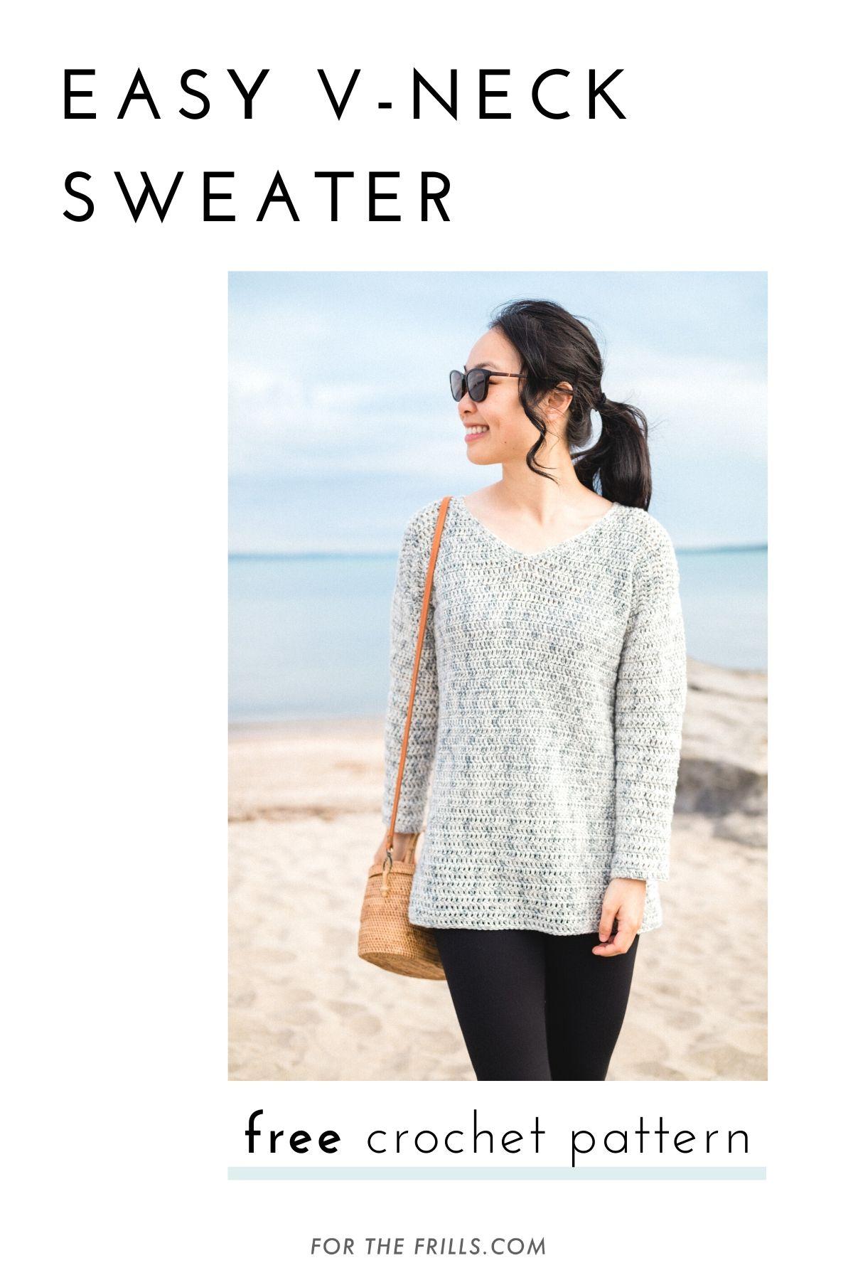 light grey beach summer v neck sweater crochet pattern