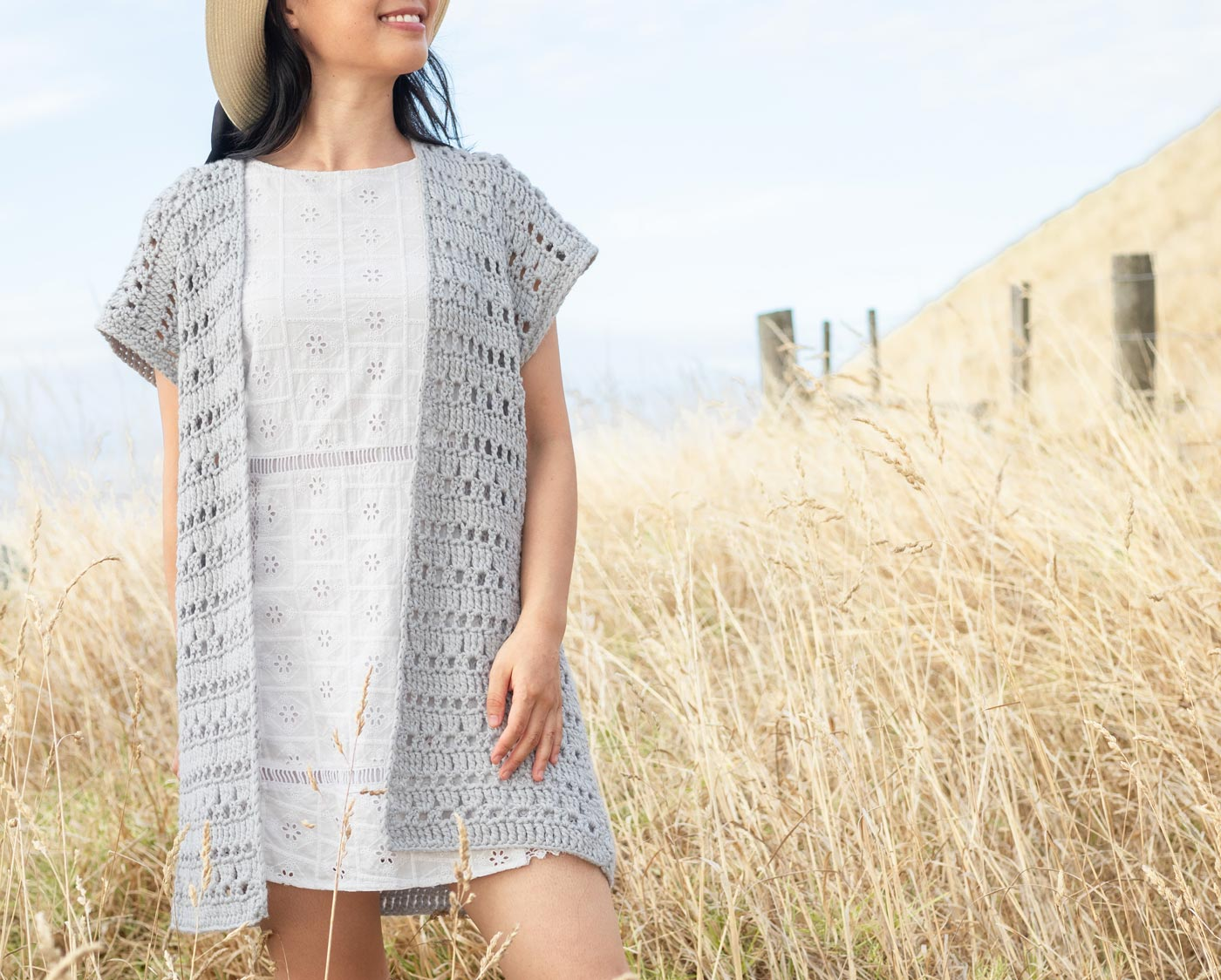 light grey crochet cardigan cover up for summer free pattern