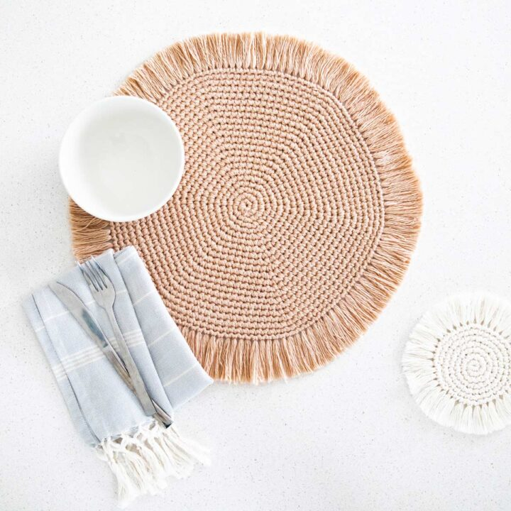 round placemats with fringe boho chic home decor with coaster free crochet pattern