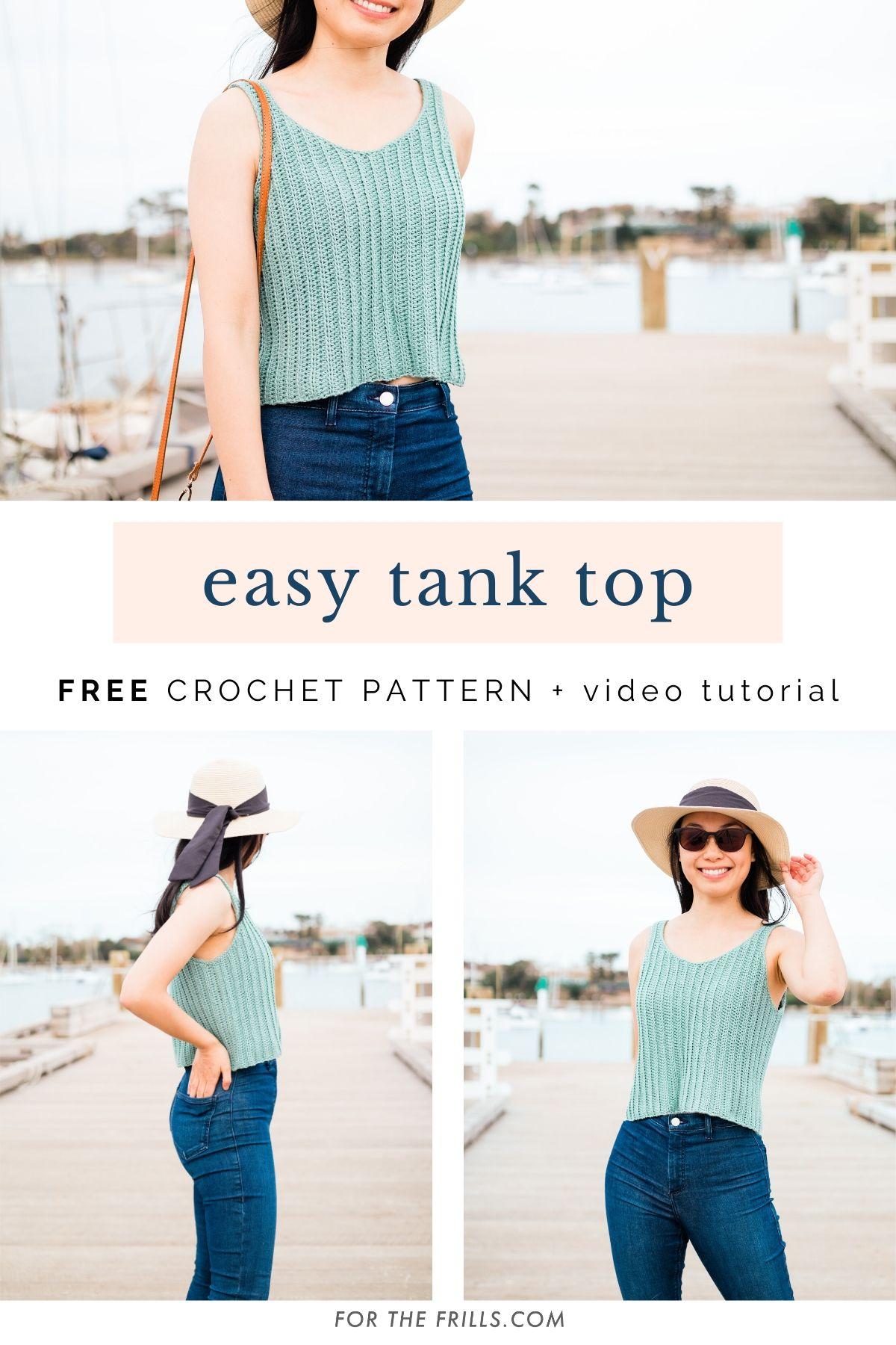 free crochet pattern ribbed summer tank top easy tutorial pin