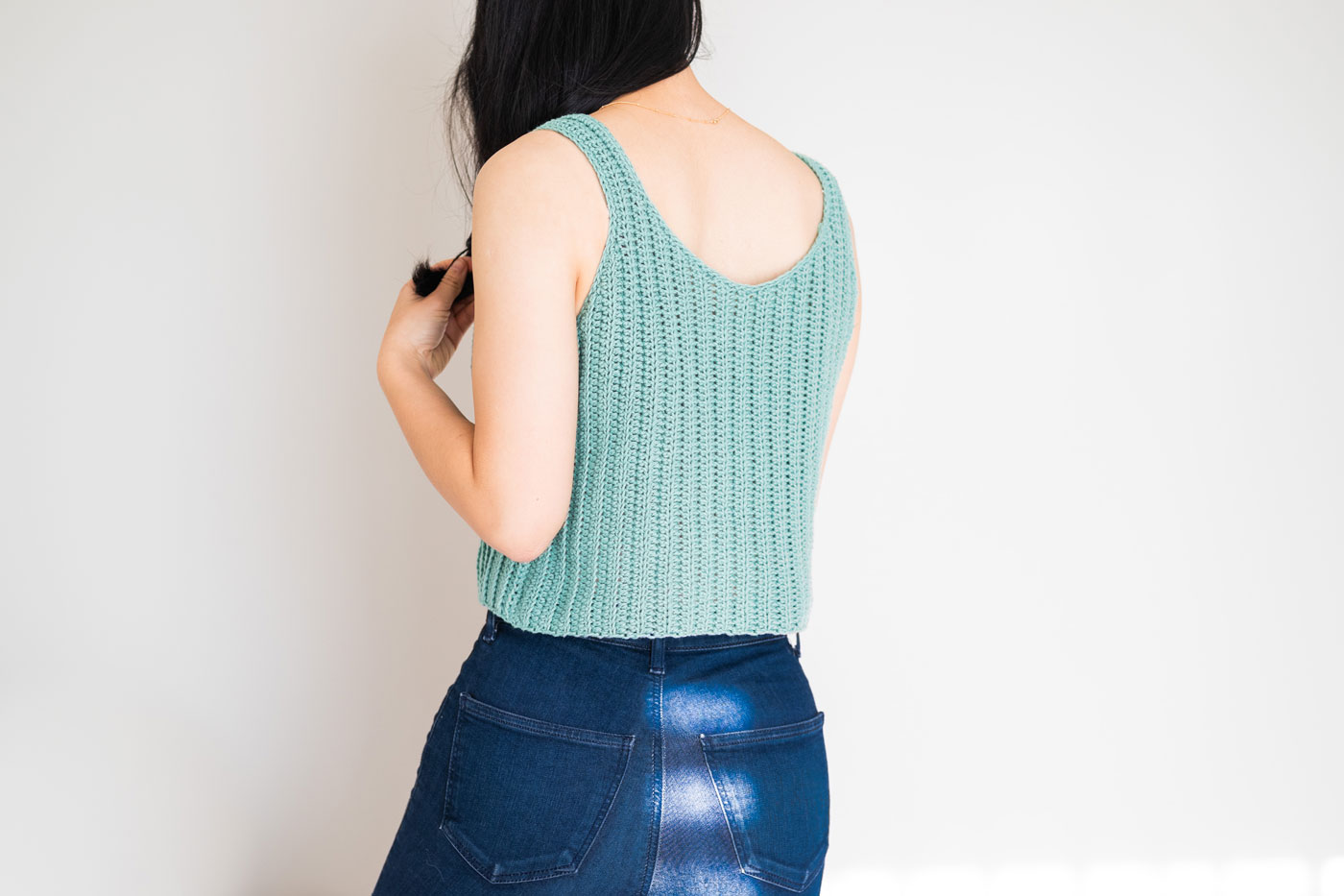 back view of round neck crochet tank top