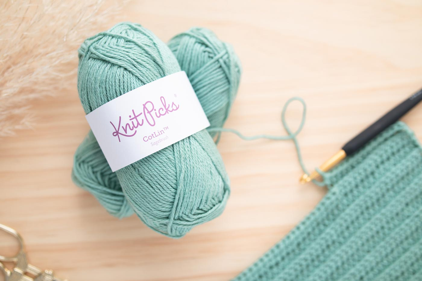 close up of wecrochet knitpicks sagebrush cotlin yarn