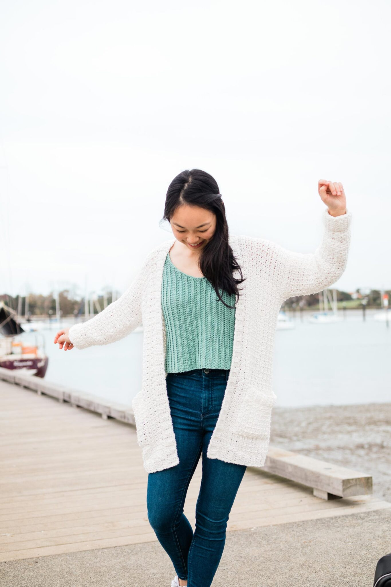 white oversized crochet cardigan with pockets