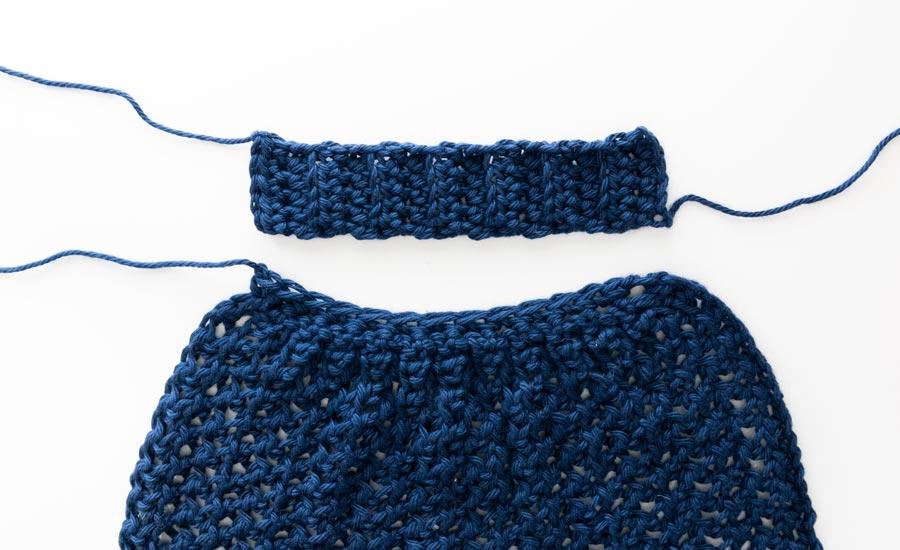 crochet cuff ribbing next to sleeve cuff
