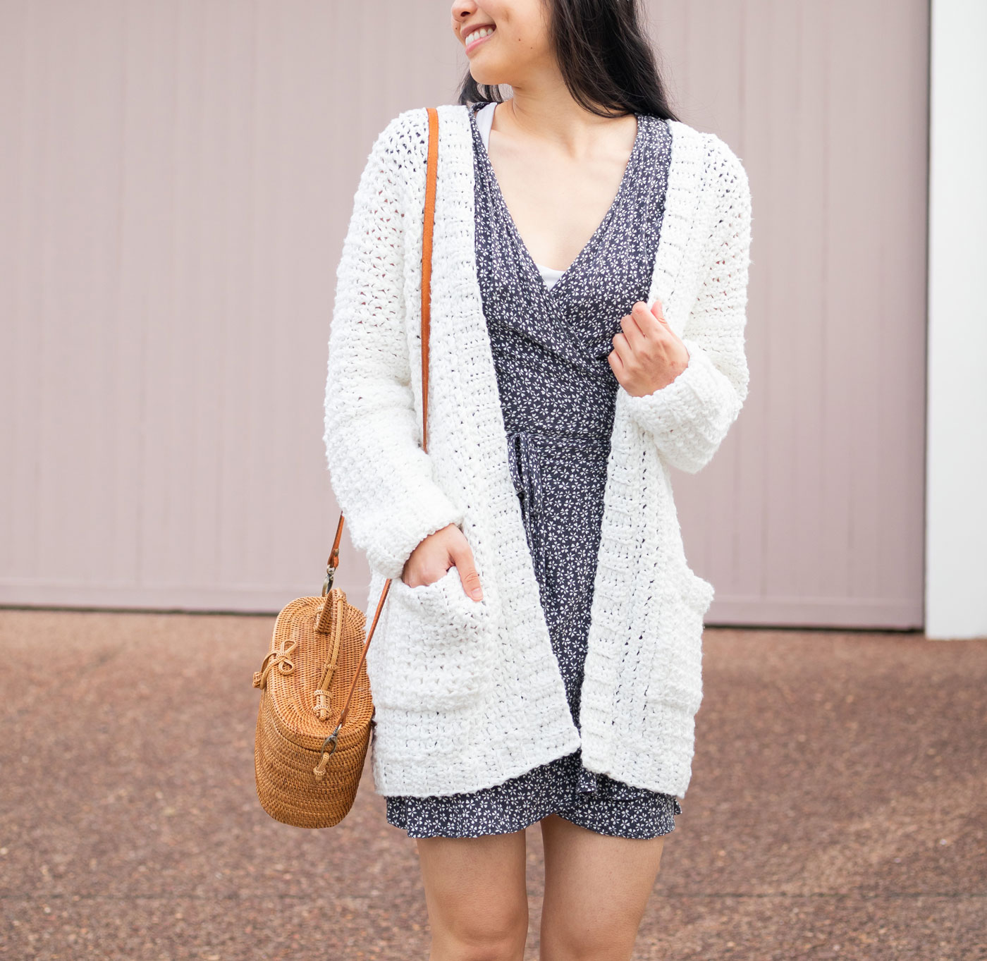 white textured crochet cardigan with pockets