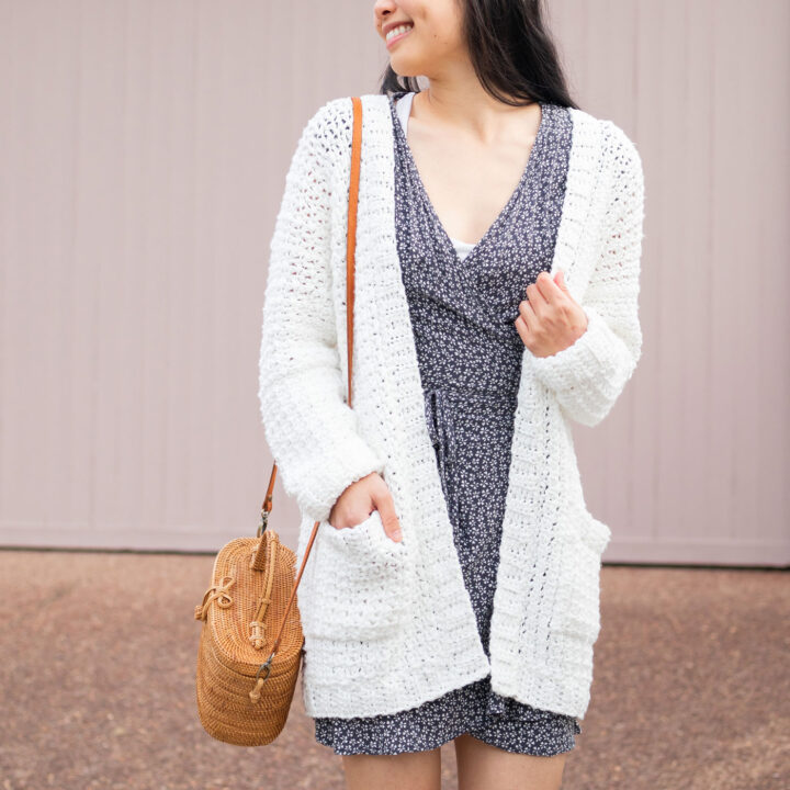 white simple crochet cardigan with pockets free pattern