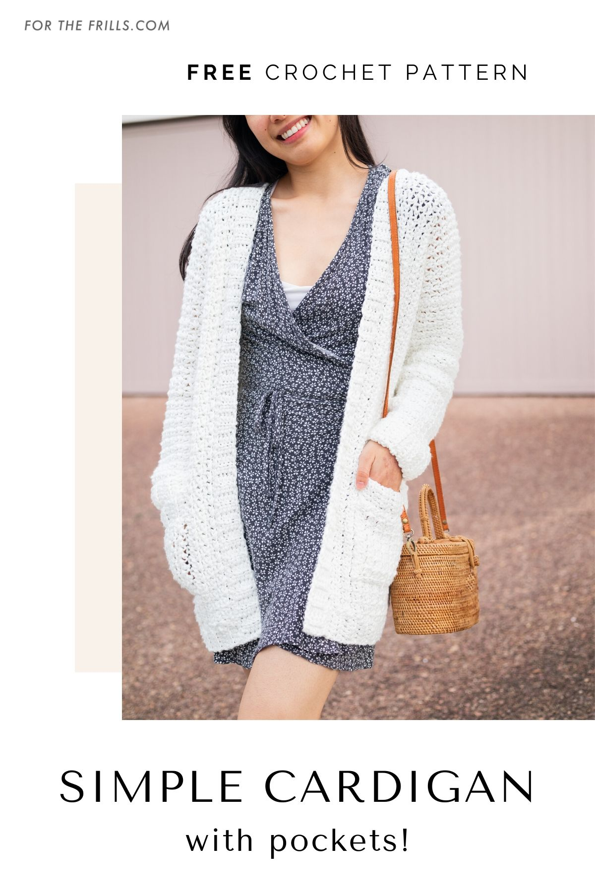 easy oversized crochet cardigan with pockets