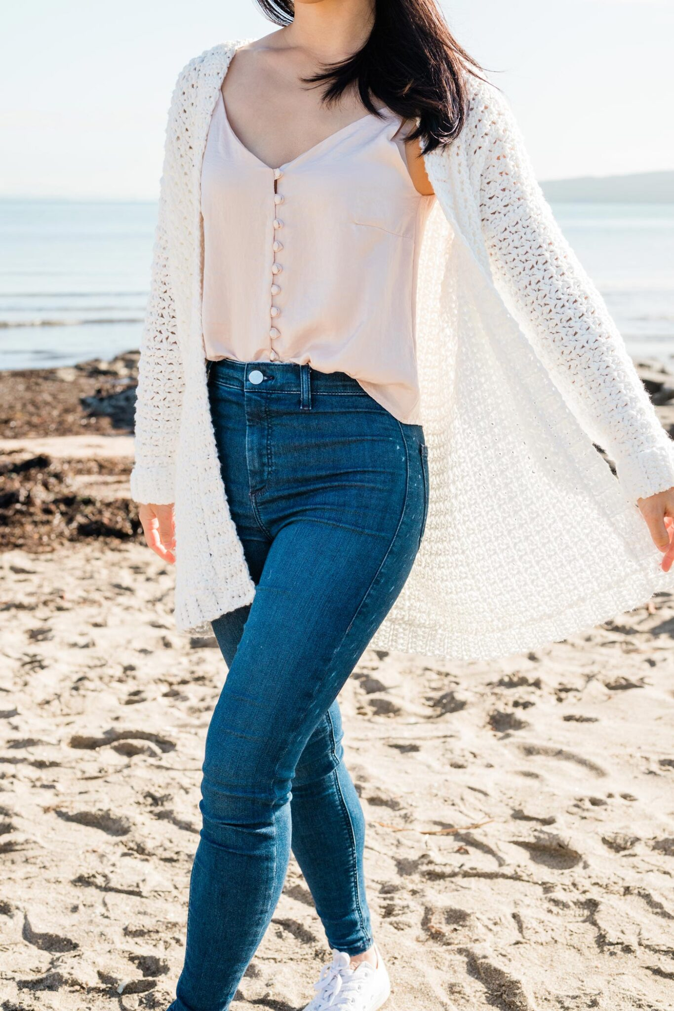 easy mesh summer crochet cardigan at the beach