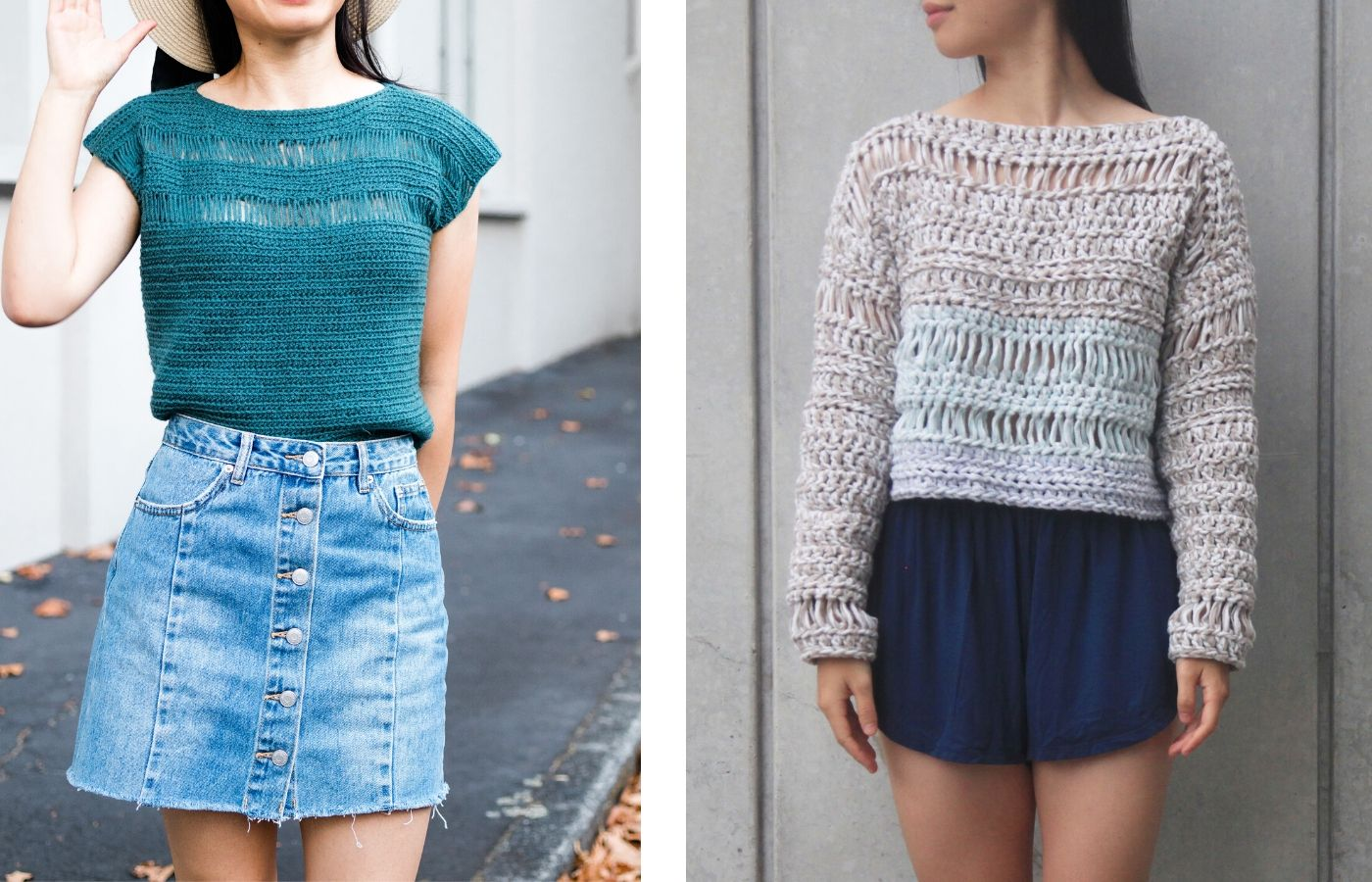 photo of teal mesh crochet top and summer sweater