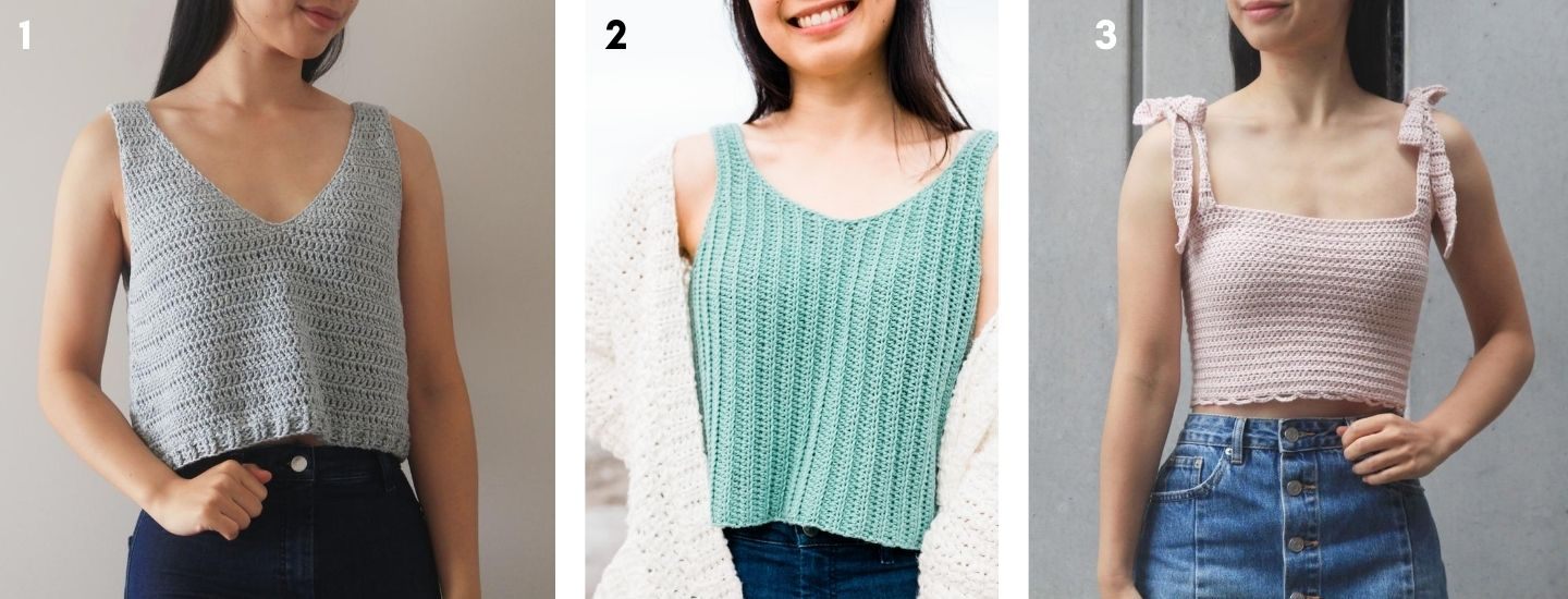 3 free crochet tank top patterns light blue v neck tank top, ribbed green tank top and baby pink crop top with tie straps