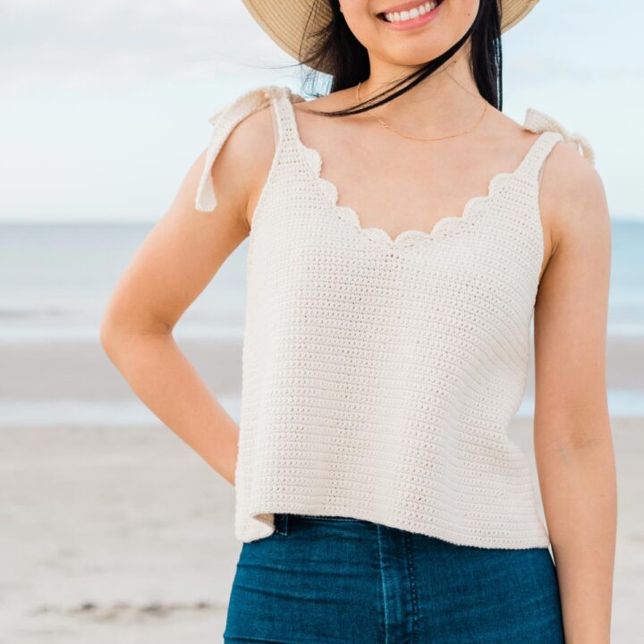 summer crochet camisole with scallop neckline and gold necklace