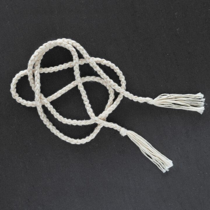 braided cord belt in organic cotton yarn